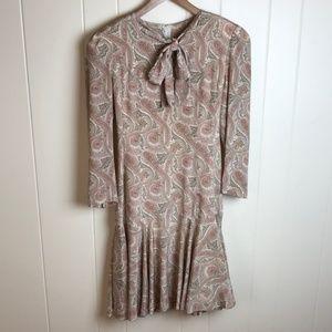 Vintage 80's Long Sleeve Mini Dress Paisley Print